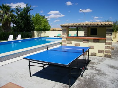 swimming pool and table